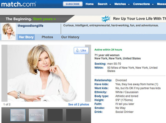 Martha Stewart is a 71-year-old fox. Profile from Match.com