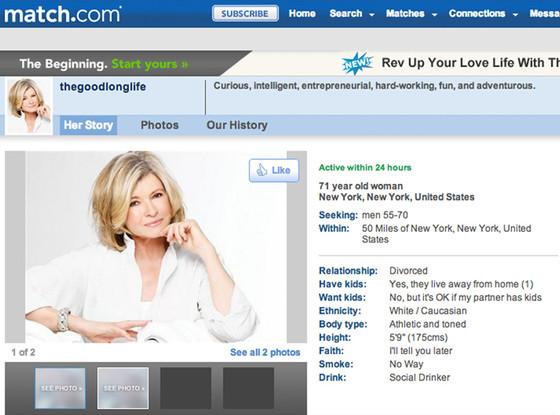 Martha Stewart is a 71-year-old fox. Profile from Match.com